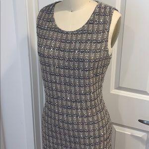 St. John Knits Sleeveless Textured Knit Midi Dress